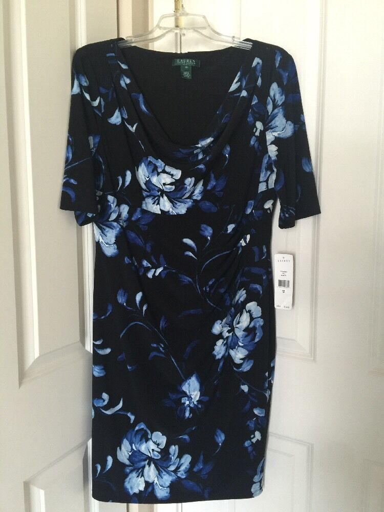 damen LAUREN RALPH LAUREN Cowl Neck 1 2 Sleeve Floral Print Sheath Dress Sz 16P