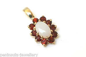 9ct-Gold-Opal-and-Garnet-Cluster-Necklace-Pendant-no-chain-Gift-Boxed-Made-in-UK