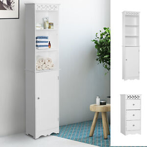 Bathroom-Cabinet-Corner-Shelf-Unit-Drawers-Tower-Cupboard-Wood-Storage-White