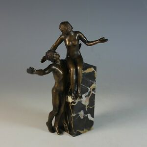 French-Bronze-Sculpture-of-a-nude-Man-and-Woman-on-a-Marble-Plinth