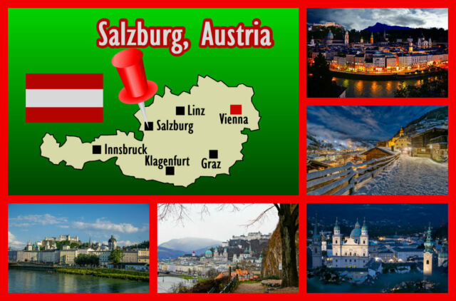 Salzburg, Austria - Recuerdo Original Imán de Nevera, Monumentos/Bandera