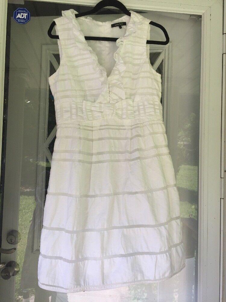 NWOT Nanette Lepore Women's white Bow & ruffles Dress Size 8 MADE in USA
