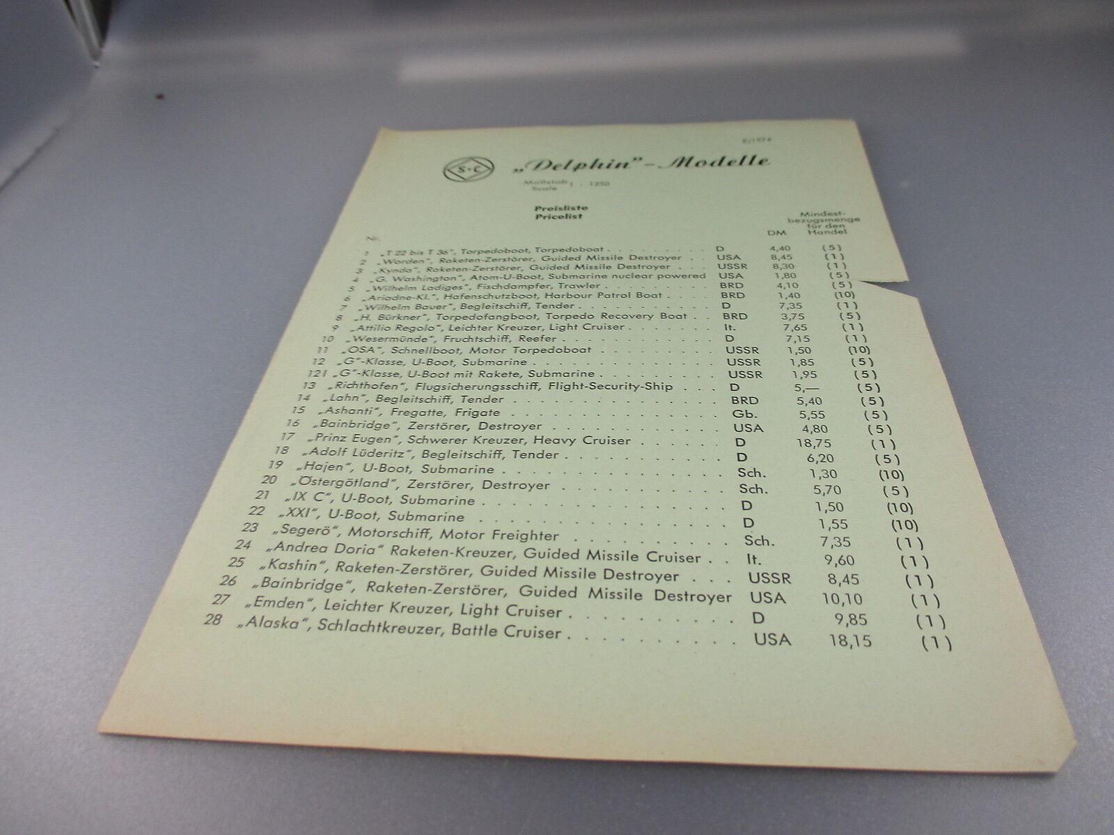 Delfín    buque-lista de precios 1974 (gk73) dfd36a