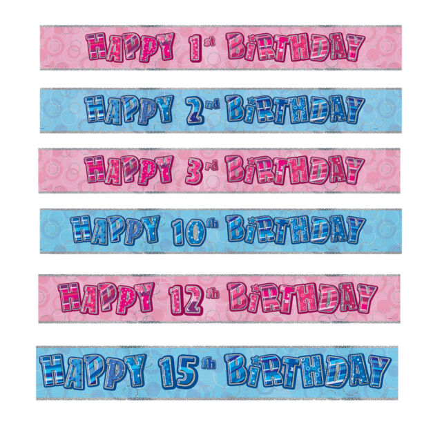 9ft Happy 8th Birthday Pink Sparkle Prismatic Party Foil Banner Decoration