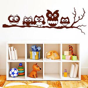 10060 wandtattoo loft 5 eulen auf einem ast aufkleber sticker eule owl uhu ebay. Black Bedroom Furniture Sets. Home Design Ideas