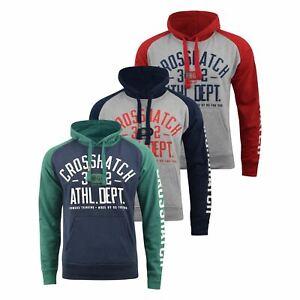 Mens-Hoodie-Crosshatch-Sweatshirt-Hooded-Jumper-Top-Pullover-TEMPTONS