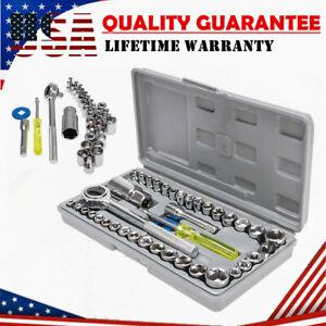 """40Pcs Standard SAE Metric Socket 1/4'' & 3/8"""" Drive Ratchet Wrench Repair Set"""