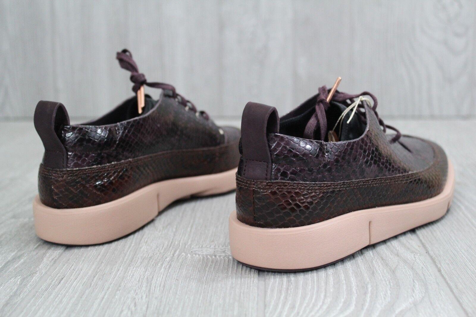 30 New Damenschuhe Clarks Tri Nia Aubergine Snake Effect Leder Trigenic Schuhes 6.5