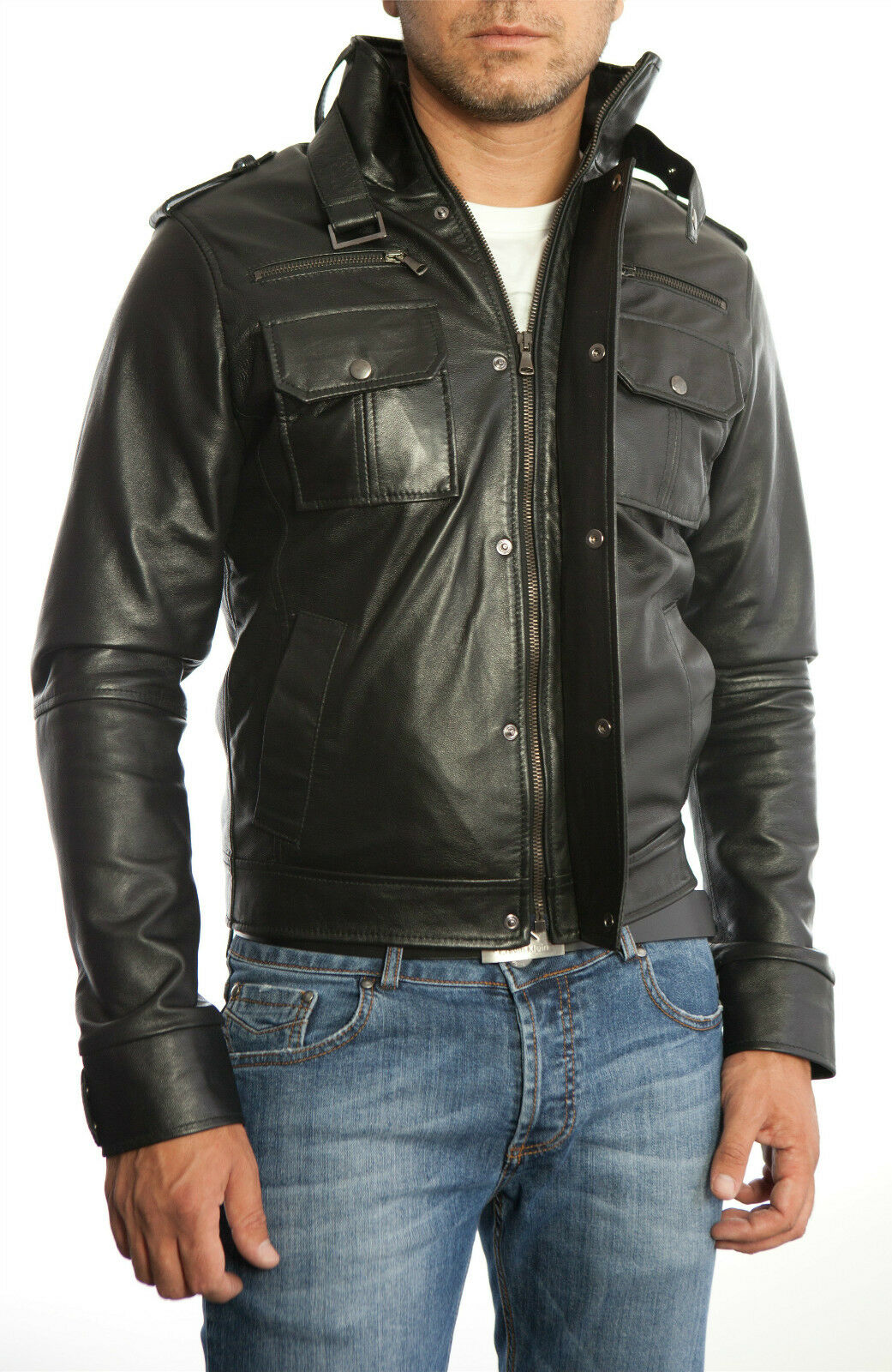 DE Herren Lederjacke Biker Férfi bőrdzseki kabát Homme Veste En cuir N6b
