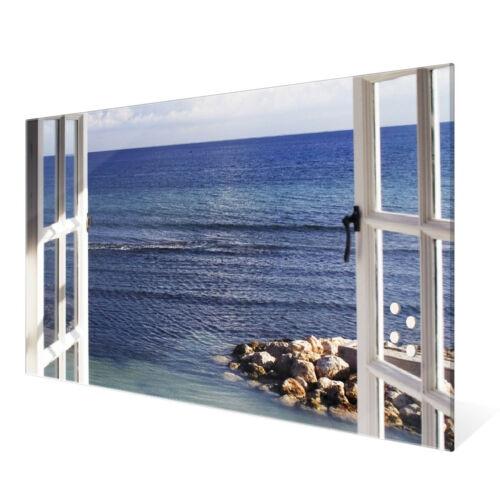 banjado Glas Magnettafel 4 Magneten Magnetwand viele Größen Fensterpanorama