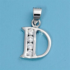 Alphabet CZ Pendants Sterling Silver 925 Initial Choices A to Z Jewelry Letter D
