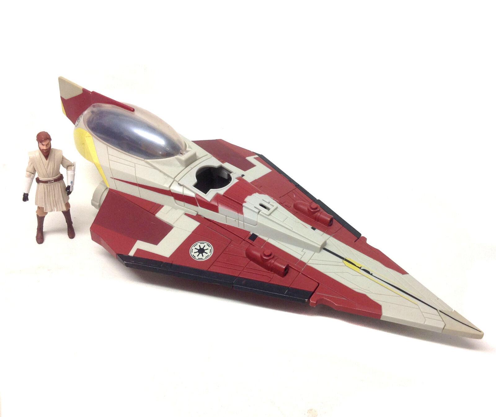 STAR STAR STAR WARS Clone Wars OBI WAN's JEDI FIGHTER 2 part ship vehicle toy & figure set 9bafad