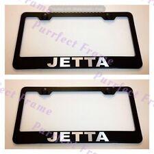 2X Volkswagen JETTA Black Stainless Steel License Plate Frame Rust Free W/Cap