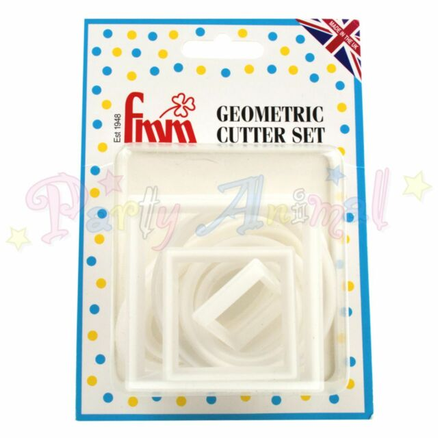 FMM - Geometric Cutter Set Of 10 round, square & oval - cake decoration cutters