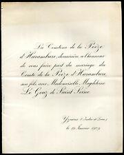 généalogie.Mariage du Comte de la Poëze d'Harambure Mlle Magdeleine Le Gouz de S