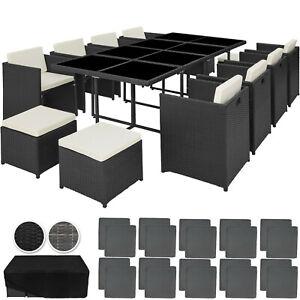 XL-Aluminium-Polyrattan-Sitzgruppe-Essgruppe-Gartenmoebel-Rattan-Cube-Gartenset
