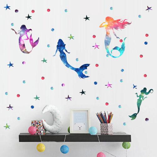 Colorful Mermaid Wall Sticker Shiny Wall Decal Girls BedRoom Marine Decoration