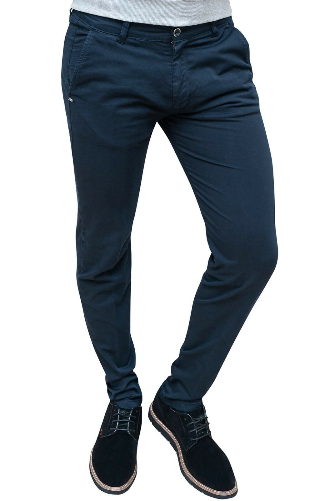 MEN'S TROUSERS TAILORING DARK blueE SMART CASUAL COTTON 100% MADE IN ITALY