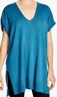 Eileen Fisher Nile Merino Wool V-neck Jersey Tunic Sweater Size X-large