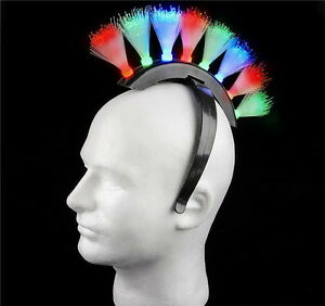 2-MULTI-COLOR-FIBER-OPTIC-MOHAWK-HEADBANDS-BATTERIES-INCLUDED-PARTY-GAG-GIFT