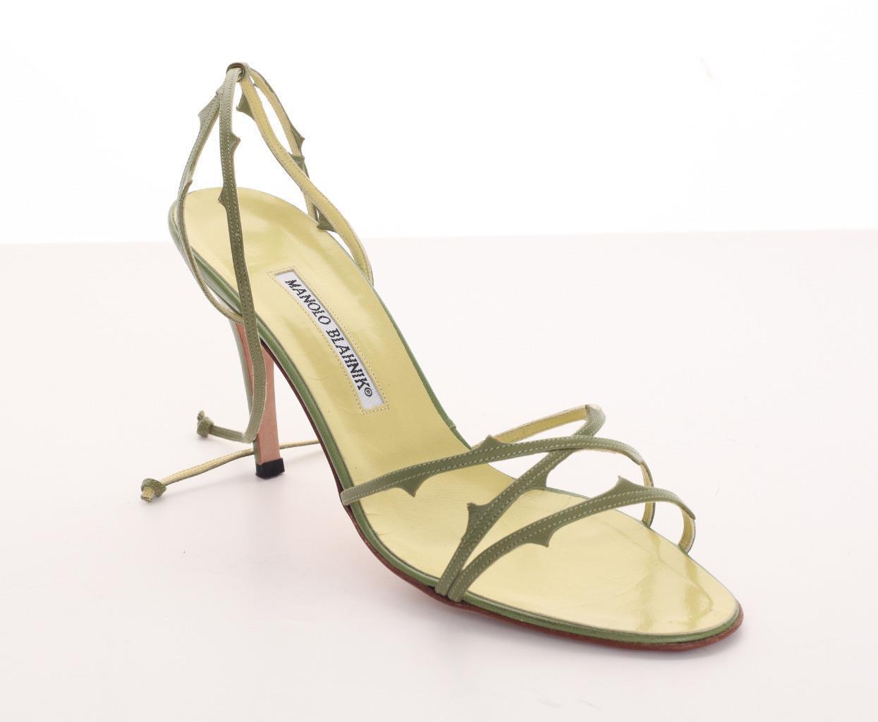 MANOLO BLAHNIK Lime vert Leather High Heel Multi-Strap Sandal Pump 9.5-39.5