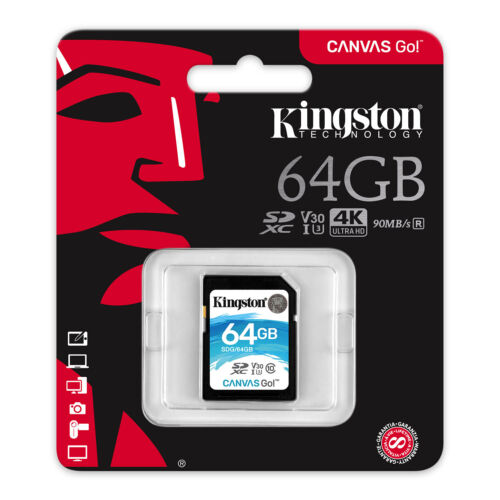 64GB SD Kingston Memory Card For DSLR Digital Camera Class 10 U3 SDXC 4K