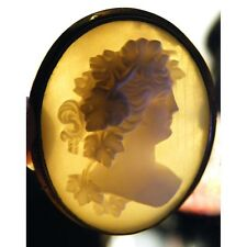 Gold Antique Vintage Bacchus Cameo Angel Skin Coral Brooch Pin Victorian Grapes