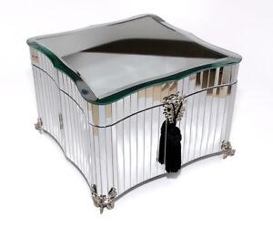 bombay hand made glass glamour mirrored jewelry box gift