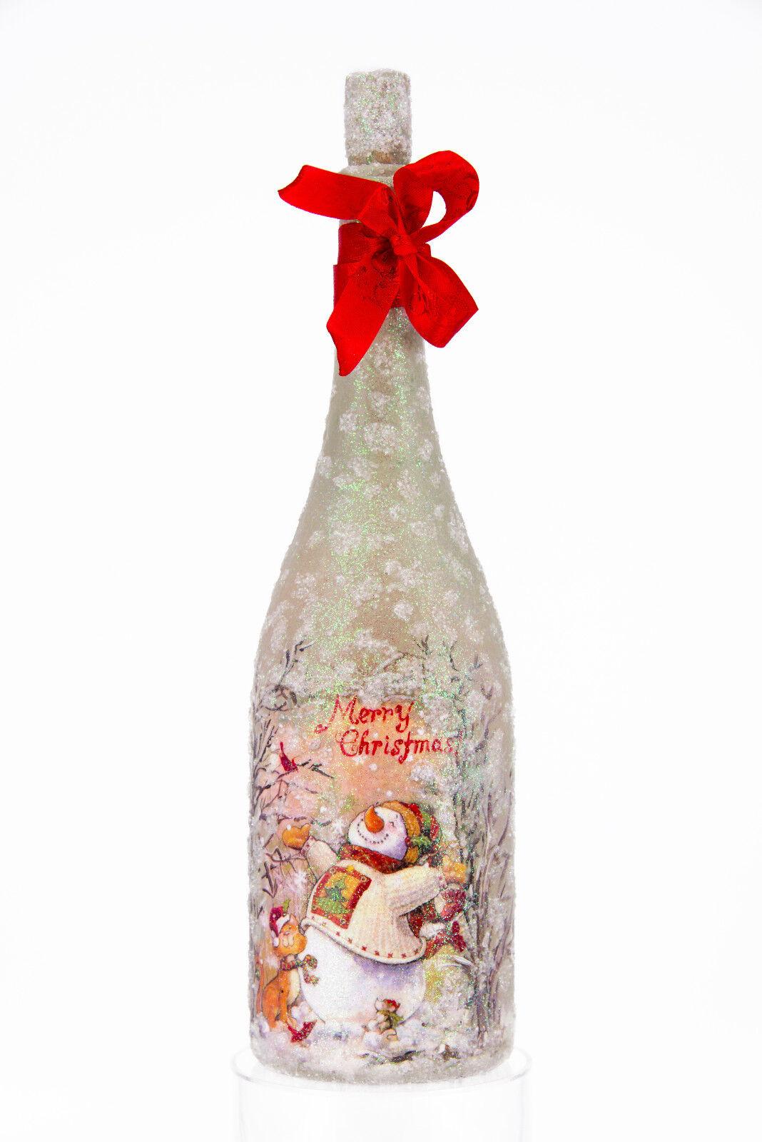 "Handmade decorative bottle. Decoupage. Decor. Craft. Gift. ""Merry Christmas ."
