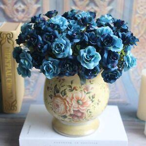 15-Tetes-artificiel-Rose-Bouquet-fausse-fleur-de-soie-Fete-Maison-Mariage