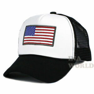 USA-American-Flag-Hat-Foam-Mesh-Trucker-Snapback-Baseball-Cap-White-Black