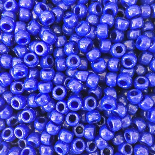 100 X Royal Bleu Opaque Barrel Shape poney perles 9x6mm