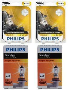 4x Philips 9005+9006 High Quality Vision Halogen Light Bulb Lamp High//Low Beam
