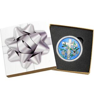 Religious-Cross-1oz-999-Silver-Medallion-Enameled-Silver-Bow-Box