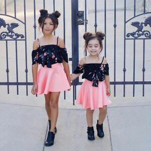 e800ccad880 2pcs Toddler Baby Girls Fashion Dress Floral Off Shoulder Top and ...