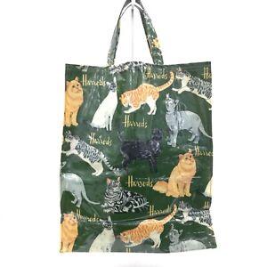 HARRODS-Green-Cat-Patterned-PVC-Grab-Tote-Shopper-Bag-Casual-Medium-Size-491104
