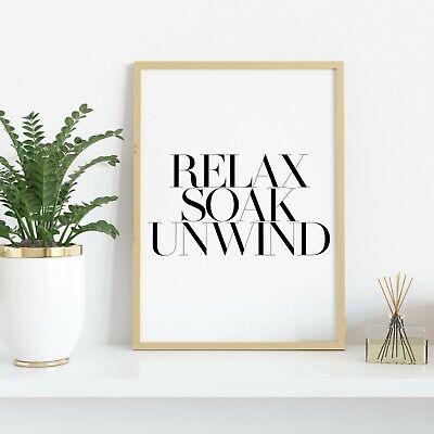 Relax Soak Unwind Wall Print Quirky Bathroom Wall Art Home Decor Ideas Quote Ebay