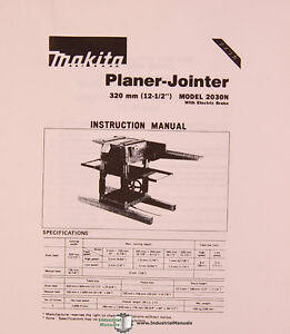 makita 2030n planer jointer instruction and parts manual 1991 ebay rh ebay com