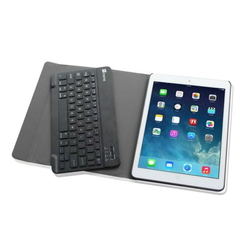 Apple iPad Leather Case w// Wireless Bluetooth keyboard Slim Shell Stand Cover