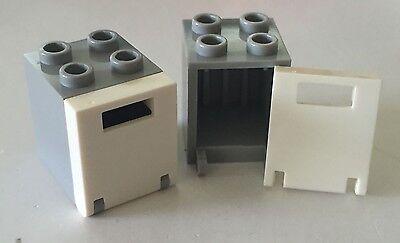 *NEW* 4 Sets Lego Container BLUISH GRAY 2x2x2 BLUISH GRAY Door w Slot 4345 4346