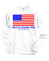 Delta Sigma Phi Usa Flag Bella + Canvas Long Sleeve T Shirt