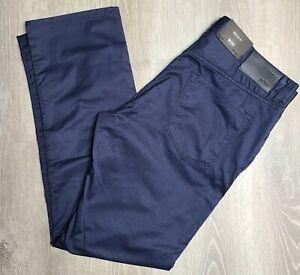 Hugo Boss Maine 3 20 Regular Fit Navy Stretch Pantalones Para Hombre 35x32 50369298 Nuevo Con Etiquetas Ebay