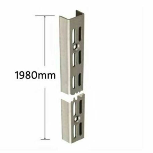 Twin Slot Wall Mounted Shelving Upright 1980mm Stainless Steel