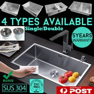 Kitchen Single/Double Sink Bowl Stainless Steel Handmade Under/Topmount Drainer