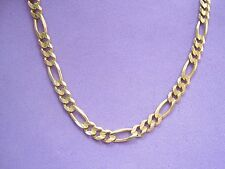 "BEAUTIFUL REAL 14K YELLOW GOLD FIGARO CHAIN NECKLACE 21"" long MEN Italy 4.65mm"