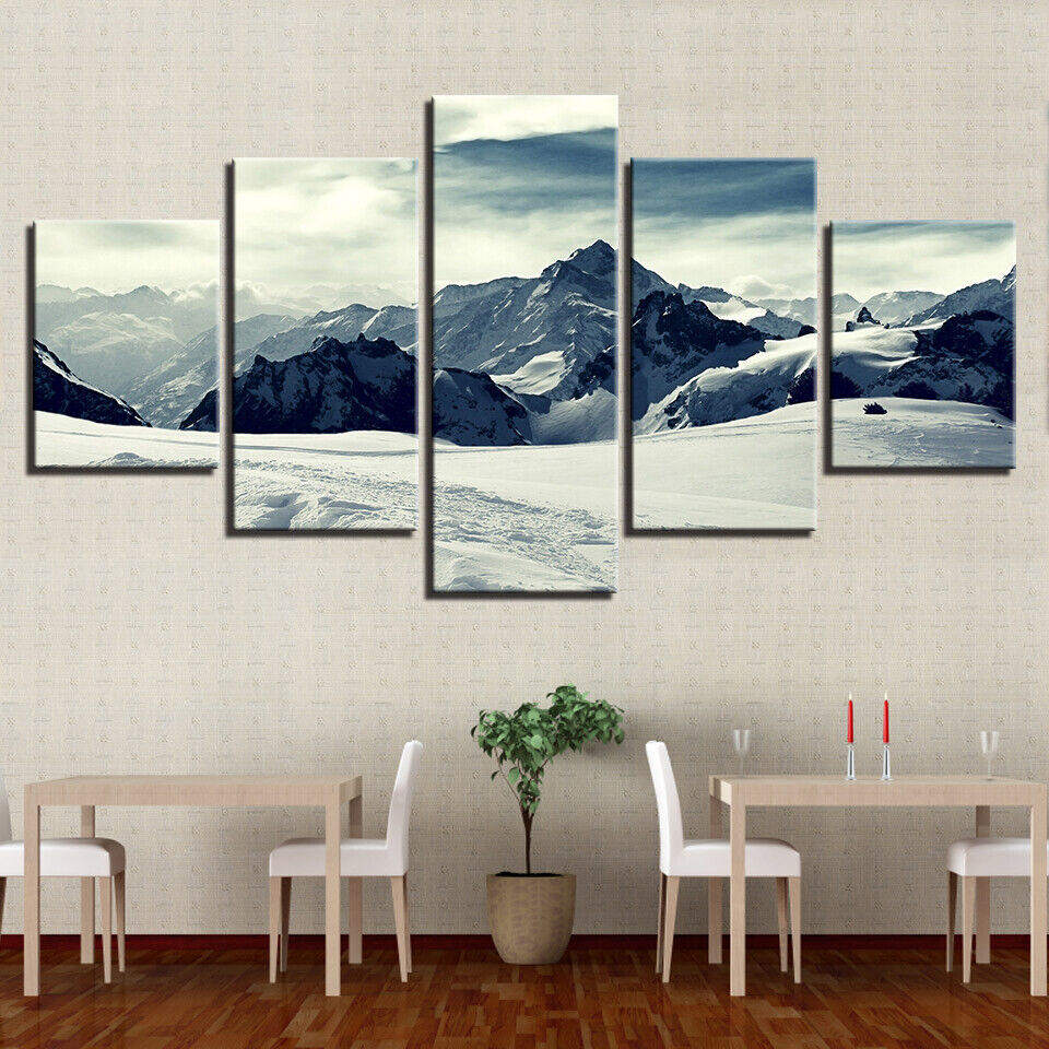 Snowy Mountains Landscape 5 panel canvas Wall Art Home Decor Print Poster