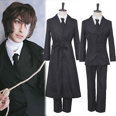 Anime Bungo Stray Dogs Dazai Osamu Cosplay Costume Unisex Uniform Outfit Cloak