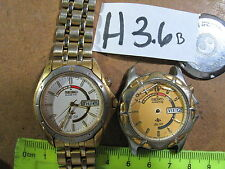 - 2pc Vintage SEIKO KINETIC 5M43 w Band Good Dial & 5M42  Parts Watch AsIs