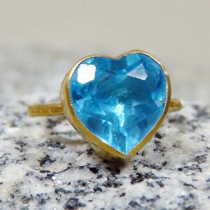 Handmade-Hammered-Large-Heart-Shape-Quartz-Ring-Gold-over-925-Sterling-Silver