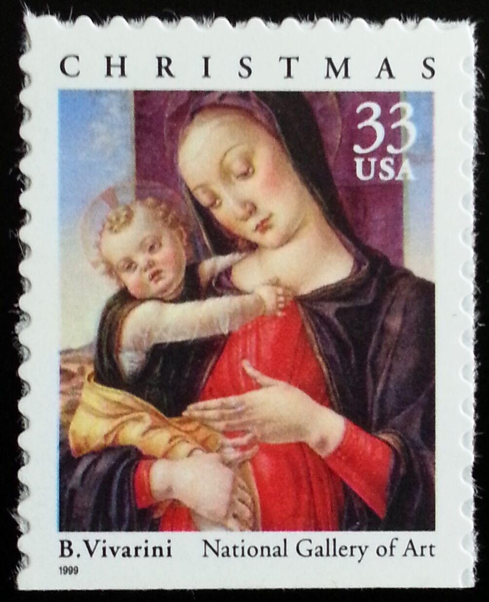 1999 33c B. Vivarini Madonna & Child, Booklet Single Sc